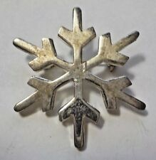 Vintage Silver Tone Snowflake Brooch Pin - Thailand
