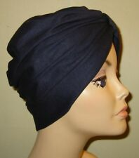 Chemo Cancer Hat  American Made Turban NAVY Knit Hijab, Alopecia Turban