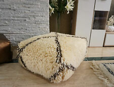 Large Beni Ourain Floor Pillow Berber Moroccan Handmade Ottoman Pouf Brwn Stripe