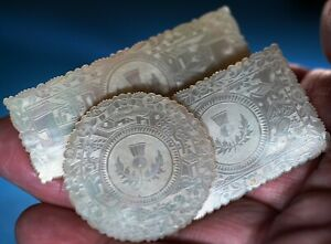 SET OF THREE ANTIQUE CHINESE  MOTHER OF PEARL ARMORIAL GAMING COUNTERS  CHIPS