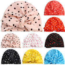 Newborn Baby Boy&Girl Spotted Turban Cotton Beanie Hat Toddler Kids Bow Knot Cap