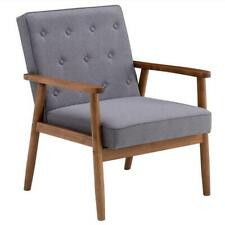 (75 x 69 x 84)cm Retro Modern Wooden Single Chair, Grey Fabric