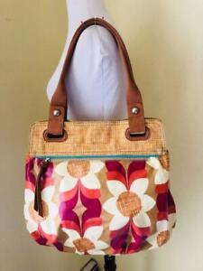 FOSSIL X-Large TOTE Bag Key-Per MOD Floral Handbag Purse RARE XL Vintage Style