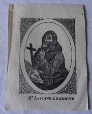 Rare image pieuse vignette XVIIIe gravure Saint Antoine l'hermite