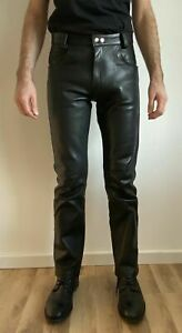 MEN'S LEATHER JEANS THIGH FIT OUTRAGEOUSLY LUXURY PANTS TROUSERS HOT