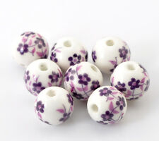 30 Ceramic Purple Flower Beads 12mm with 2.6mm Hole J21542XE