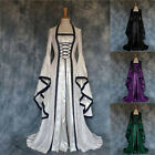 Womens Retro Style Solid Color Trumpet Sleeve Princess Dress for Halloween Party