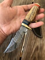 Custom Hand Forged Damascus Steel HUNTING Knife W/ Wood & Brass Guard Handle-