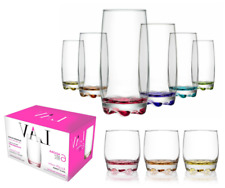 6pc Tumbler Highball Lowball Curved Glass Set Drinking Glasses Multi Coloured