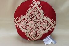"ENVOGUE ""PAISLEY ROYALE"" ROUND DECORATIVE EMBROIDERED PILLOW - 16"" RED/TAN"