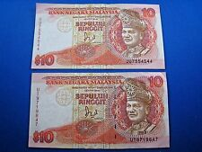 MALAYSIA  1989  10 RINGGIT BANKNOTE - LOT OF 2    (mr)