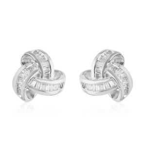 Diamond Knot Stud Earrings 925 Sterling Silver Engagement Jewelry Gift Ct 0.3
