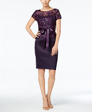 Adrianna Papell Women's Purple Sequin Lace Sheath Dress Sz 16 Dressy Formal