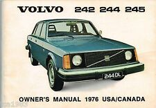 1976 VOLVO 242 / 244 / 245 Owner's Glove Box Manual; DL, (US / Canada)