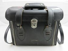Black Heavy Duty Leather Camera Bag With Zippers Vintage Made In Japan