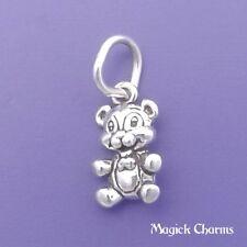 925 Sterling Silver TEDDY BEAR Charm Small Miniature - elp501