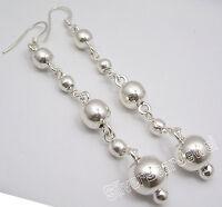 "925 Sterling Silver MODERN LONG Dangle BALL Earrings 3.3"" FACTORY DIRECT NEW"