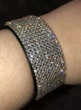 Swarovski Crystal Pave Black Leather Buckle Cuff Bracelet Authentic Sparkle