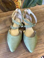 Mark & Maddux Green Flat Strappy Shoe Womens 9 Nice NWOT
