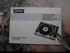 Grundig Stereo-Plattewechsler Automatic 60 Bedienungsanleitung
