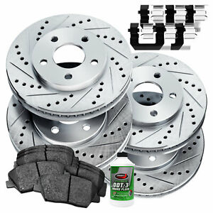 Fit Ford Explorer, Flex, Taurus Front Rear  Drill Slot Brake Rotors+Ceramic Pads