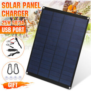 UK 12V 5V 25W Solar Panel Kit USB Charger Traval Camping Outdoor Hiking Caravan