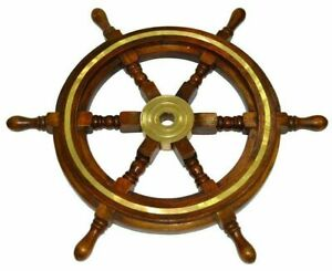 Wooden Ship Wheel 24 Inch Collectible Brown Brass Nautical Vintage Wall Decor