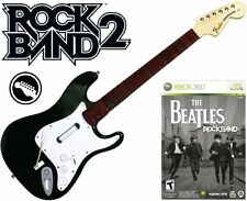 NEW Xbox 360 Rock Band 2 Wireless Fender Stratocaster Guitar & Beatles Rock Band