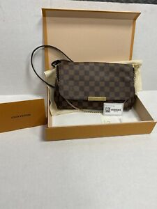 Authentic Louis Vuitton Favorite MM Damier Ebene Clutch Crossbody Bag