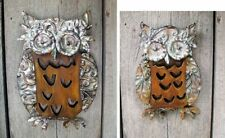 2 Owl Wall Plaques Wood Metal Accents Garden Patio Home Decor Owls