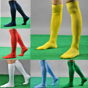 Men's Boys Kids Football Socks Rugby Soccer Sports Plain High Quality Long Socks