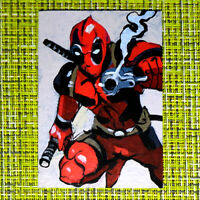 Deadpool original painting 1/1 signed sketch card