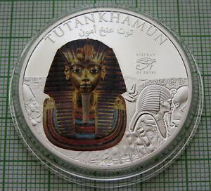 COOK ISLANDS 2012 DOLLAR, TUTANKHAMUN - HISTORY OF EGYPT, COLOURED IN CAPSULE