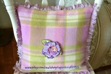 Hand Made Cushion Cover Vintage wool blanket with embroidered flower in Mauve