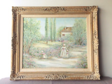 Vintage Original Oil Painting Framed Canvas Landscape Ornate Frame Fast Shipping