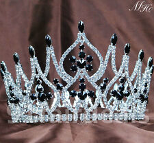 "4.25"" Full Diadem Black Crystal Crowns Tiaras Wedding Pageant Hair Accessories"
