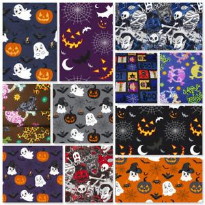 Halloween Fabric Per Metre Vampire Ghosts Mummies Pumpkins Bats Skulls Werewolf