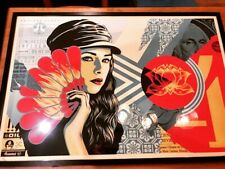 """SHEPARD FAIREY """"OBEY FAN THE FLAMES"""" SCREEN PRINT NUMBERED & SIGNED"""