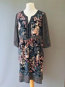 Per Una Dress 18 Kaftan Style Midi 3/4 sleeves Floral F19
