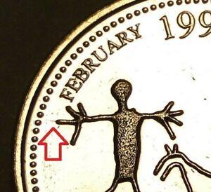 *ERROR*DIE CRACK*Long Finger Nail*1999 Canada 25c February coin