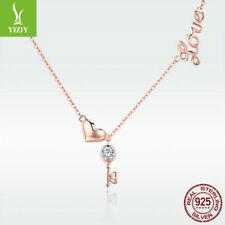 Rose Gold 925 Sterling Silver Pendant Necklace Heart Key Women Chain Jewelry New