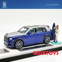 Time Model 1:64 Rolls Royce SUV CULLINAN Mansory Blue w/Figure Diecast Model Car