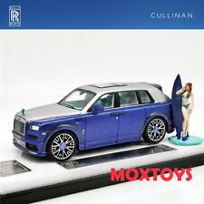 Time Model 1:64 Rolls Royce SUV CULLINAN Mansory Blue w/Figure Diecast Model Car