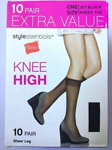 Hanes Stylessentials JET BLACK One Size Sheer Leg Knee High 10 PAIR Stockings