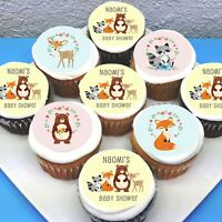 "Forest Animals Edible Icing Cupcake Toppers - 2"" - PRE-CUT - Sheet of 15"