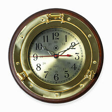 CLOCKS - BRASS PORTHOLE WALL CLOCK ON WOOD BASE - NAUTICAL DECOR