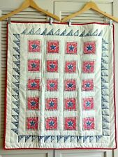 Collectible Crayon Star Quilt -White, Red & Blue Cotton Fabrics Baby Blanket