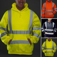 New Hi-Viz Vis High Visibility Jacket Hoodie Work Hooded SweatShirt Safety UK