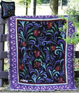 Jim Shore Midnight Blooms Floral Motif Tapestry Afghan Throw