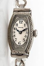 Vintage 1920s Engraved Filigree 18k White Gold Ladies Hamilton Watch and WTY